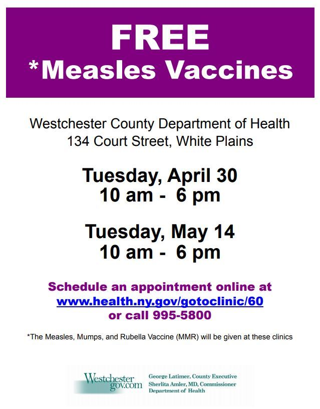 Free Measles Vaccines English flyer