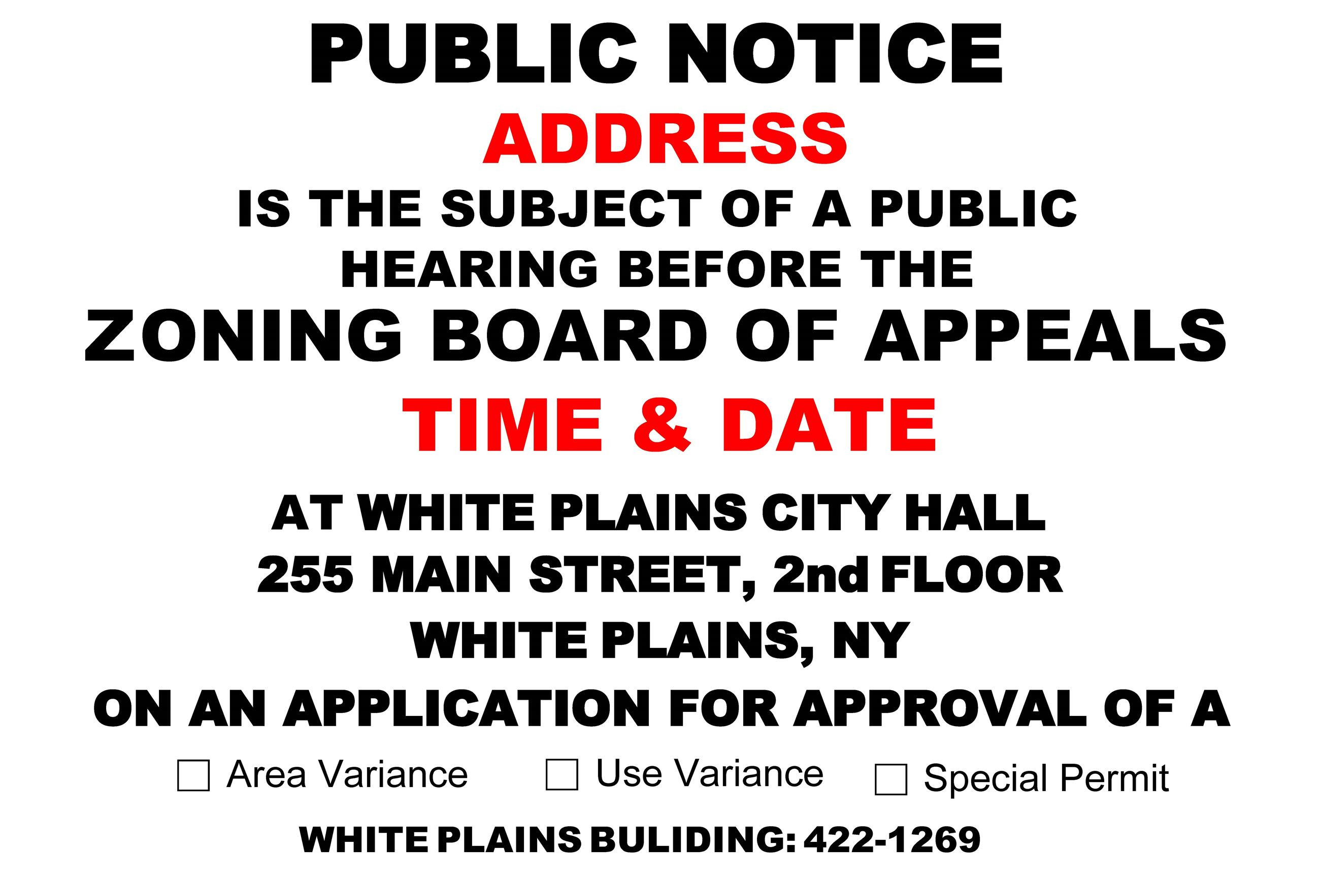 Zoning Board of Appeals PUBLIC NOTICE Fillable Sign