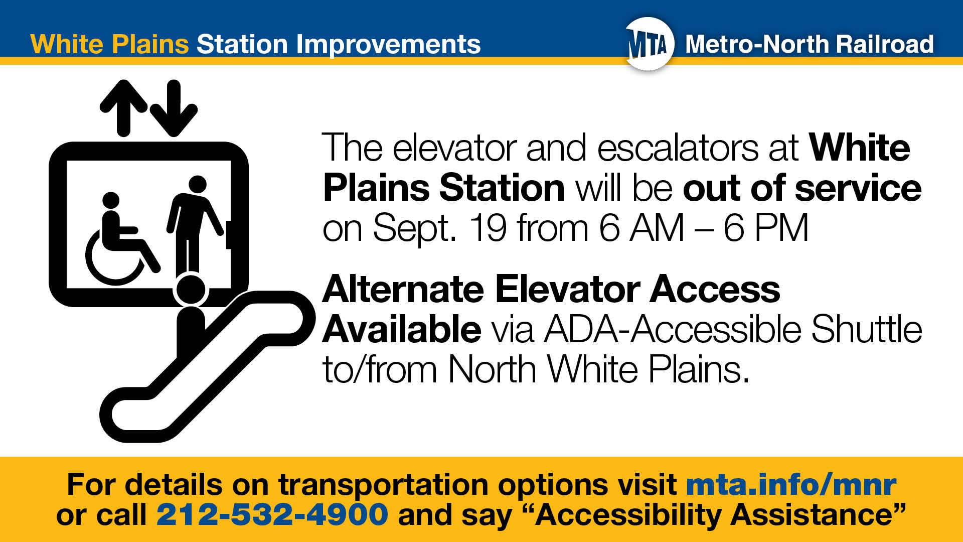ADA WP MetroNorth platform out of service sept 19